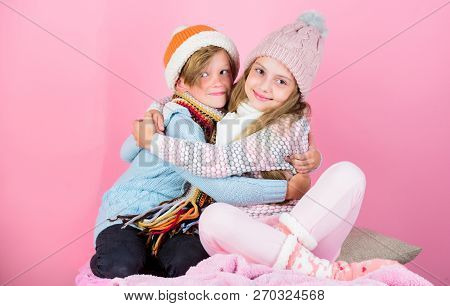 Siblings Best Friends On Pink Background. Boy And Girl Kids Hug Each Other Friendly. Friendly Relati