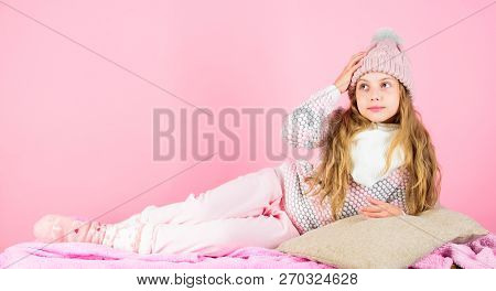 Kid Smiling Fashion Model. Winter Fashion Concept. Kid Girl Wear Cute Knitted Fashionable Hat And Co