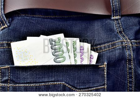 Czech Banknotes In The Back Pocket Of Jeans With Belt, Thousand, Two Thousand Czech Crowns