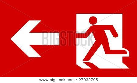 Symbol of Fire Emergency Exit Sign with Arrow isolated on Red Head Left