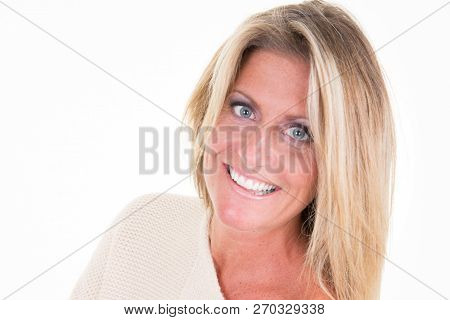 Smiling Middle Aged Forty Woman Wearing Winter Wear White Sweater Against White Background