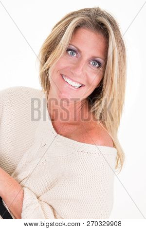 Pretty Forties Fifties Blonde Woman Wearing White Sweater