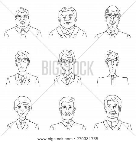 Vector Set Of Business Avatars. Collection Of Outline Male Portraits. Office Workers.