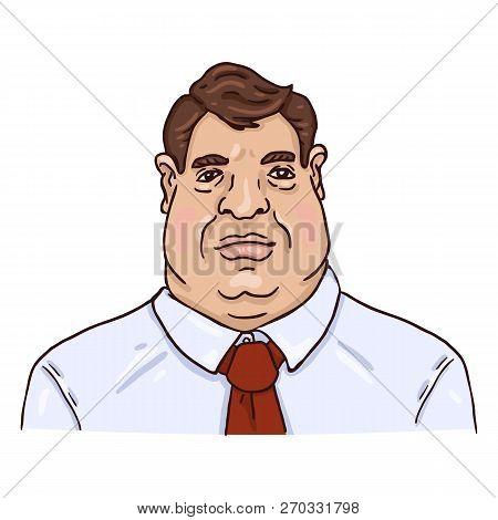 Vector Cartoon Business Avatar - Fat White Man In White Shirt And Red Necktie.