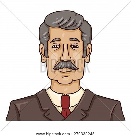 Vector Cartoon Business Avatar - Gray-haired Man With Moustache In Brown Suit.