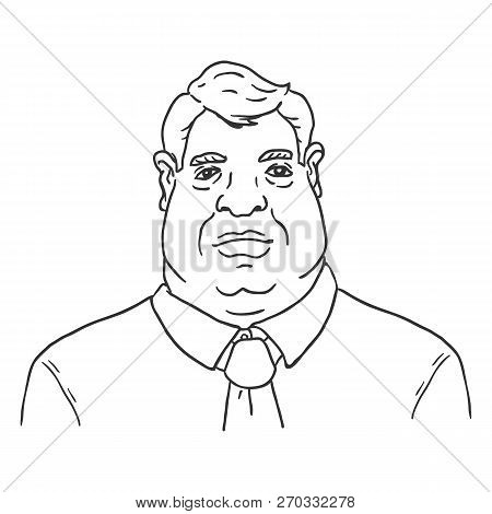 Vector Line Art Business Avatar - Fat Man In Shirt And Necktie.