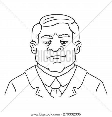 Vector Line Art Business Avatar - Brutal Men In Suit