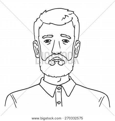 Vector Line Art Business Avatar - Bearded Man In Shirt