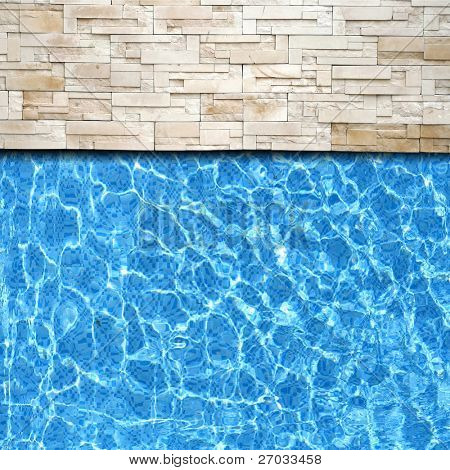 Refection of Blue water in Swimming pool with Ripple and modern brick pavement