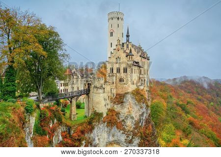 Autumn Landscape With Lichtenstein Castle Built In Gothic Revival Style, Baden-wuerttemberg, Germany
