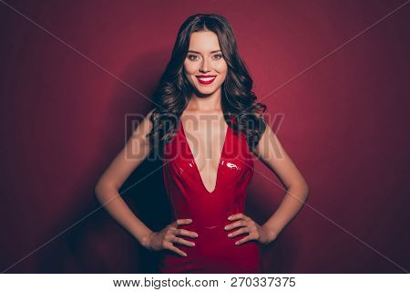 Beautiful Chic Elegant Fancy Brunette With Modern Hairstyle Hold Hand On Waist Look In Camera Make B