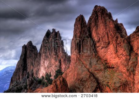 Garden Of The Gods Mountains In Hdr