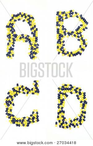 Collection of letter ABCD alphabet made of medical capsules style