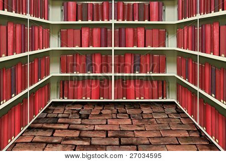 red hard cover book on shelf in old brick library