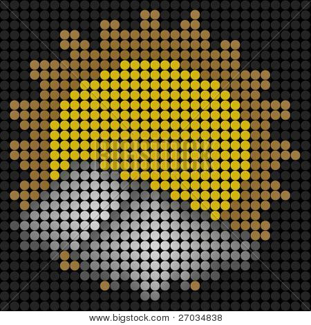 weather sun with cloud icon on technology LED Screen