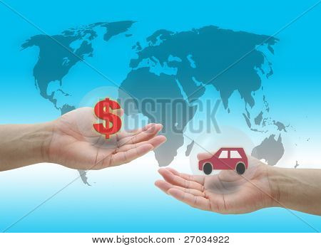 man hold dollar cash money for buying new Car concept