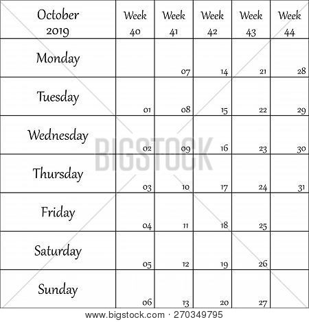 October 2019 Planner With Number For Each Weak