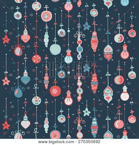 Chalkboard Pattern With Christmas Balls. Xmas Art