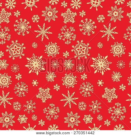 Snow Pattern On Red Background. Xmas Doodles.