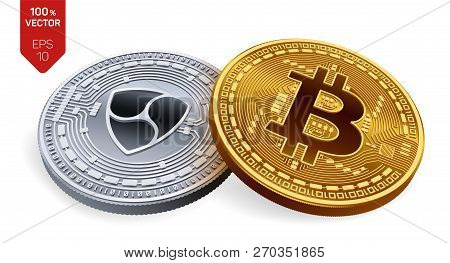 Bitcoin. Nem. 3d Isometric Physical Coins. Digital Currency. Cryptocurrency. Silver Coin With Nem Sy