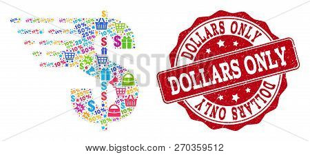 Trading Collage Of Dollar Mosaic And Textured Stamp Seal. Mosaic Dollar Collage Is Constructed With