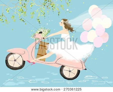 Bride on scooter
