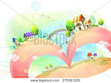Picturesque villages and rainbows