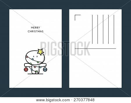 Merry Christmas Postcard - Cute Funny Character With Decorations, Lights And Star On The Head. Xmas,