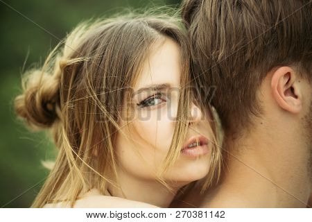 Romantic Couple Embrace. Love And Tenderness. Date Of Beautiful Couple. Valentines Day. Cute Man And
