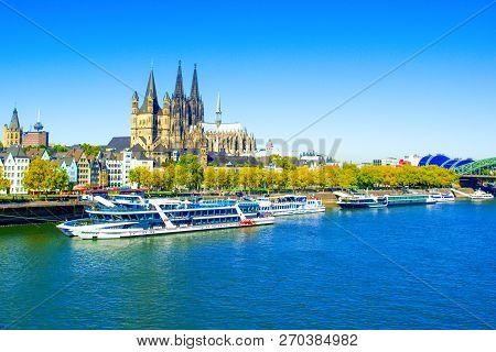 Cologne, Germany - 27 September 2018: Landscape Of The Waterfront Of Rhine River With Cruise Ship An