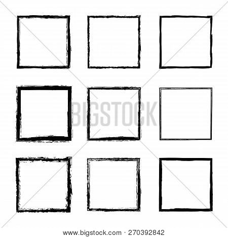 Set Of Vector Square Frames And Borders Drawn By Black Ink Brushes Isolated On A White Background. A