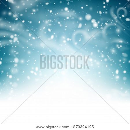 Abstract Shiny Winter Poster With Snow, Wind And Blizzard.