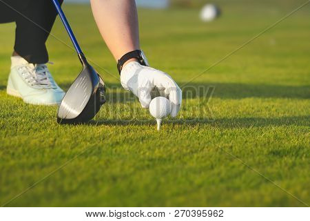 Female Hand Placing Golf Ball On Tee