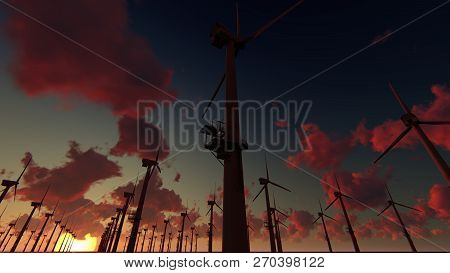 Offshore Wind Farm, Windmills In The Sunset, 3d Rendering