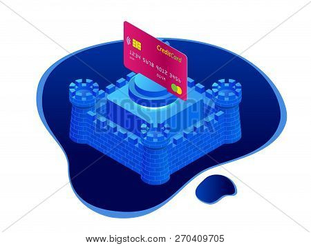 Isometric Protection Of Bank Cards, Bank Service Security, Safe Anti-fraud Banking