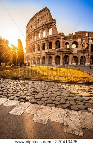 The Magnificent Colosseum At Sunrise, Rome, Italy, Europe.