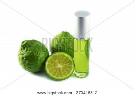 Kaffir Lime Extract Oil On White Background / Bergamot Essential Oil Thai Herbs Medicinal Properties