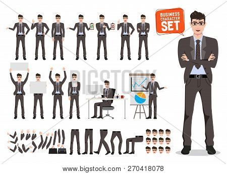Male Business Character Vector Set. Cartoon Character Creation Of Business Man Standing And Talking