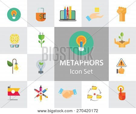 Metaphors Vector Icon Set. Money Rain, Bread, Stop Sign, Idea. Metaphor Concept. Can Be Used For Top