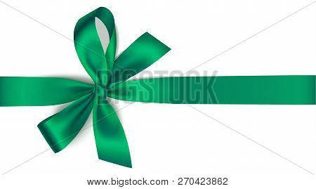 Vector Green Bow With Horizontal Ribbon Isolated On White. Decorative Bow For Your Design. Christmas