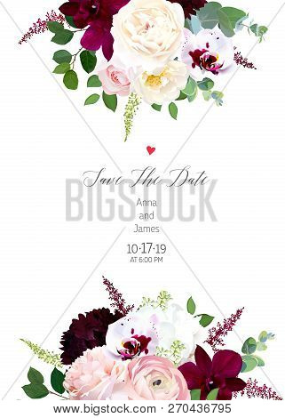 Luxury Fall Flowers Vector Design Card. Dark And Exotic White Orchid, Garden Rose, Burgundy Red Dahl