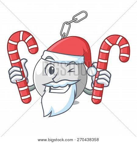Santa With Candy Wrecking Ball Attached Character On Hitting