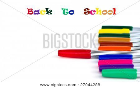 Set of magic color pens of different colors and text- back to school