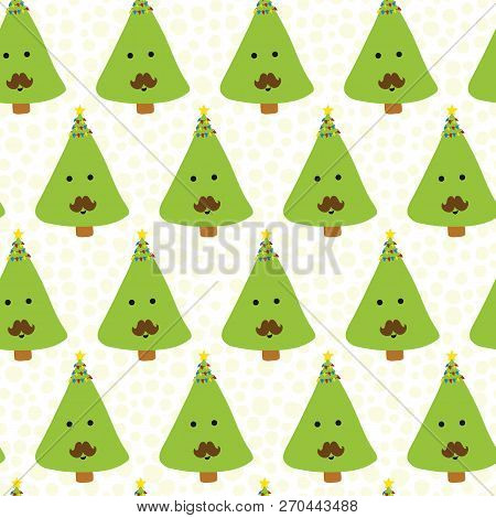 Funnny Christmas Trees With Mustache. Kids Fun Christmas Pattern. Seamless Christmas Vector Pattern.