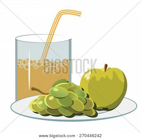 Fruit Juice In A Glass With A Straw Vector Illustration It Is Maybe Used For Any Professional Projec