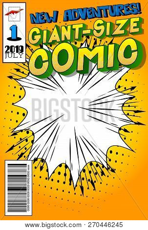 Editable Comic Book Cover With Abstract Background. Vector Illustration Style Cartoon.