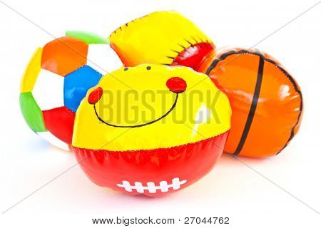 Colourful (Red, Blue, Green, Yellow) Toy Ball On White Background