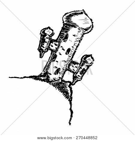 Tower Over The Precipice. Tilted Tower. Hand Drawn Tower Is In Oriental Style. Vector Illustration.