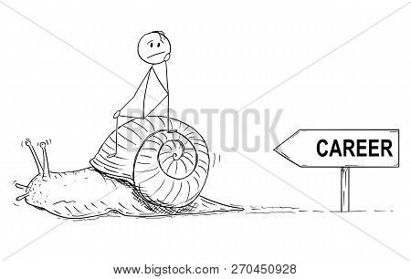 Cartoon Stick Drawing Conceptual Illustration Of Frustrated Man Or Businessman Sitting On The Shell