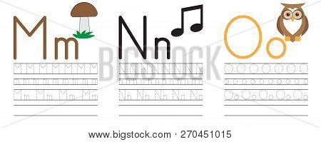 Writing Practice Of Letters M,n,o. Education For Children. Vector Illustration